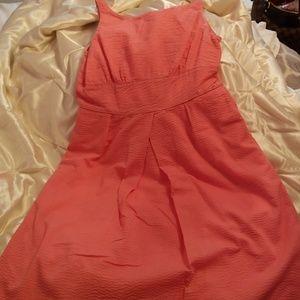 Bright coral J Crew spring/summer dress